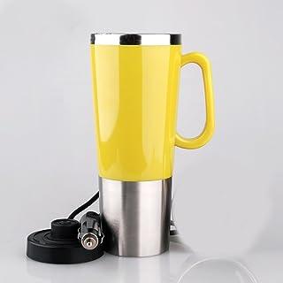 Taza eléctrica del coche, caldera eléctrica, taza elegante, para el coche 12V, capacidad 450ML, trazador de líneas del acero inoxidable, material del PP Shell ( Color : Yellow )