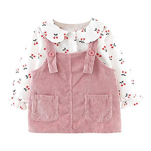 Conjuntos de bebé para niñas, niños, niños pequeños, bebés, niñas, camiseta con estampado de frutas, tops, vestido sólido, ropa casual, rosa, 18-24 meses, juegos de bebés para recién nacidos