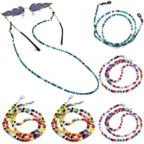 BEIFON 6Pcs Cadenas Gafas Mujer Perlas Correa Cuerda Gafas de Sol Cordón de Collar de Gafas de Abalorios Retenedor Cadena Decorativa de Cuello para Gafas Lectura para Mujer Multicolores