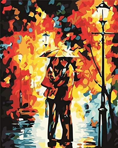 mnbhj Malen Nach Zahlen DIY Ölgemälde Für Erwachsene Kinder 16 * 20 Zoll Home Haus Dekor Bilder Von Paar Unter Regenschirm(Rahmenlos)