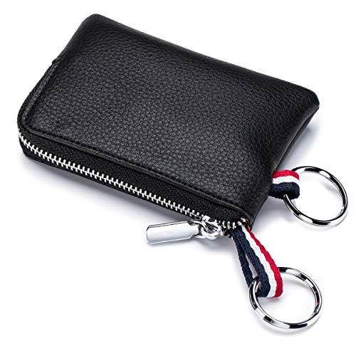imeetu Mens Leather Coin Purse Wallet, Mini Dual Keyrings Change Pouch Card Holder(Black)