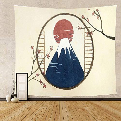 Tapiz De Pared,Tapiz De Impresión De Arte De Montaña De Sol Rojo Japón Ukiyoe Kanagawa Gran Ola para Colgar En La Pared Fondo De Tela Decoración del Hogar Tapiz Japonés para El Hogar 130 Cm X 150