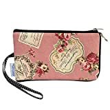 Tainada Women Phone Wristlet Clutch Pouch, Dual Layers Zipper Purse Shockproof Bag for iPhone 11/12, 11/12 Pro Max, Xs Max, XR, Samsung S20+, Note 20, Google Pixel 4a, 5 & More! (Floral Pattern Pink)