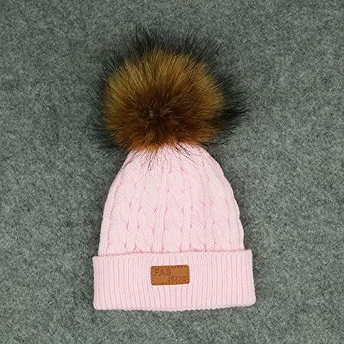 niños Sombreros de Invierno bebé niños niña Gorros de Punto sólido Gorras Bola de Pelo Grueso bebé niños niñas Gorro de Invierno cálido-Pink Hat