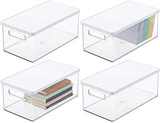 mDesign boîte de rangement pour le bureau (lot de 4) – bac de rangement ouvert en plastique robuste – boîte plastique avec...