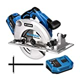 G LAXIA 20V Brushless Cordless Circular Saw, 5000RPM Circular Saw with 4.0Ah Li-ion 20V MAX Battery, Fast Charger, 185mm Blade, Guide and Allen Key, Variable Cutting Angle/Depth