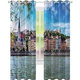 YUAZHOQI Cortinas opacas para dormitorio europeo Lyon City Village Francia cortinas de ventana para sala de estar de 132 x 241 cm (2 paneles)