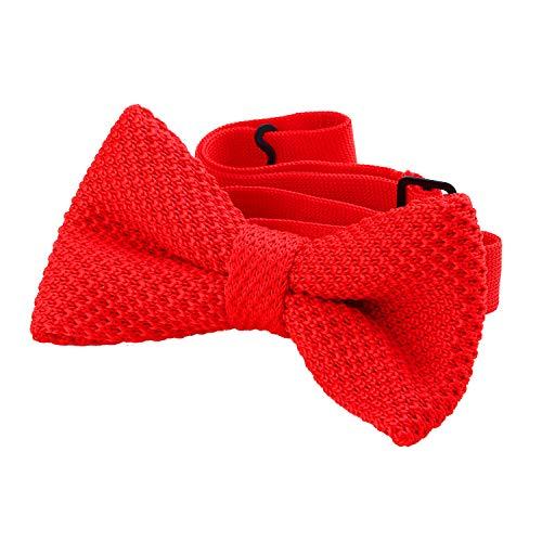 DonDon Papillon uomo fatto a maglia annodato e regolabile 11 x 6 cm rosso