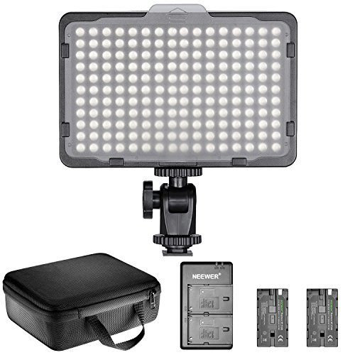 Neewer Regulable 176 Luz LED de Video Kit de Iluminación: 176 LED Panel 3200-5600K, 2 Batería, Cargador USB y Duradero Portátil para Canon, Nikon, Pentax, Sony DSLR Cámaras