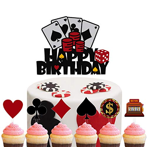 Set of Acrylic Casino Happy Birthday Cake Topper, Poker Cake Topper, Gambling Themed Birthday Party Decoration, Casino Party Supplies ( 7Pcs )