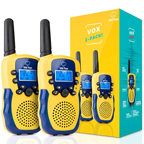 "USA Toyz – ""Vox Box"" Walkie Talkies for Kids (Blue and Yellow)"