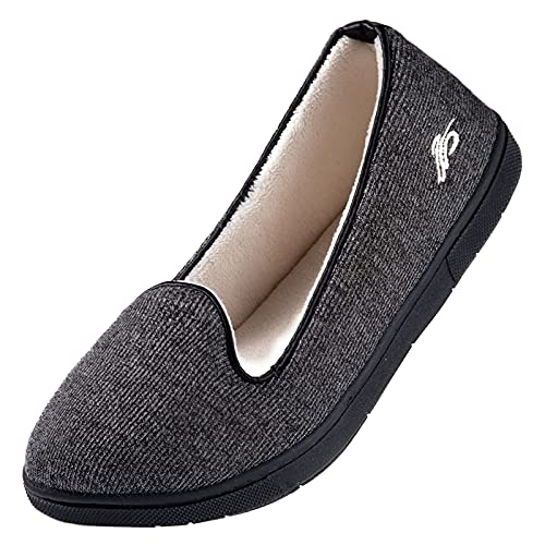 Wishcotton Womens Cozy House Slippers, Memory Foam House Shoes with Closed Back, Dark Grey, 10 M US