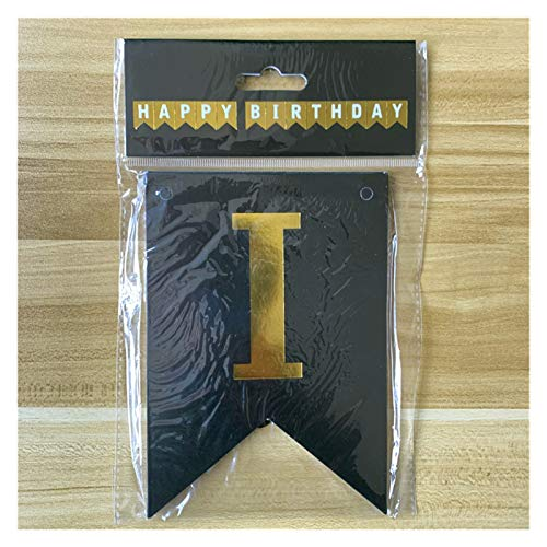 Yinyimei Balloon 13pcs Happy Birthday Decoration Balloons Rose Gold Letter Foil Ballons Birthday Party Decorations Anniversaire (Color : Paper Banner Black)