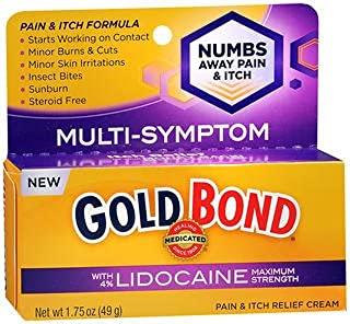 Gold Bond Medicated Pain & Itch Relief Cream with Lidocaine Maximum Strength - 1.75 oz, Pack of 2