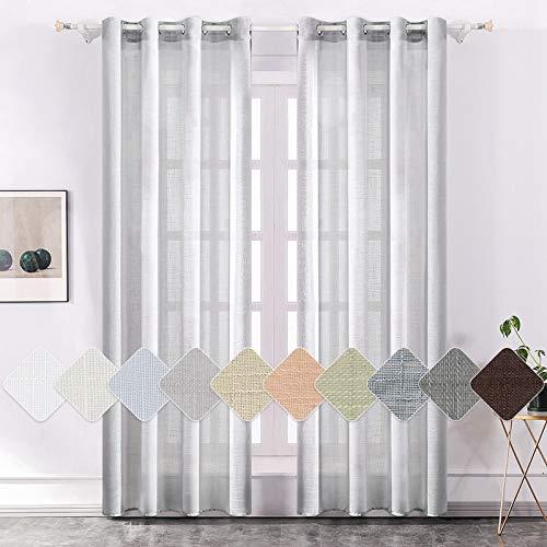 MIULEE 2er Set Voile Vorhang Sheer Leinenvorhang mit Ösen Transparente Leinen Optik Gardine Ösenschal Wohnzimmer Fensterschal Lichtdurchlässig Dekoschal Schlafzimmer 145 x 175cm (H x B)