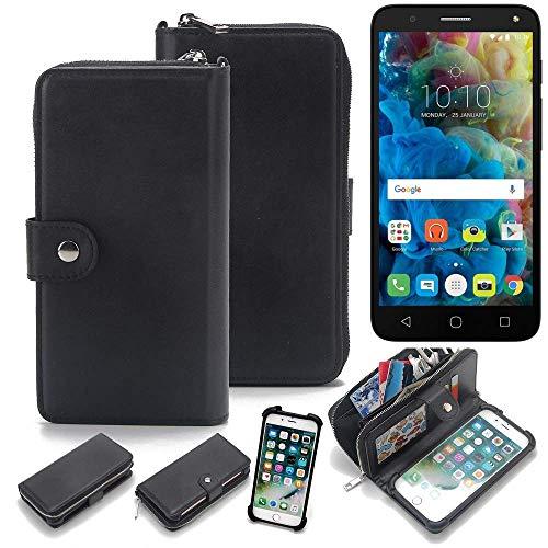 K-S-Trade 2in1 Handyhülle Für Alcatel One Touch Pop 4 Schutzhülle & Portemonnee Schutzhülle Tasche Handytasche Case Etui Geldbörse Wallet Bookstyle Hülle Schwarz (1x)