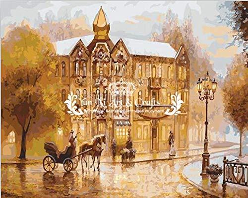 Nuova pittura pittura a olio digitale con cornice su tela secondo la decorazione della casa digitale artigianato regalo street view castle