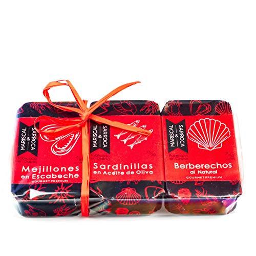 Pack vermut - aperitivo : Berberechos al natural grandes 20/30, Mejillones en escabeche 8/10 y Sardinillas en aciete de oliva 120g 15/20 Mariscal & Sarroca