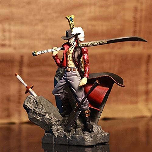 Genj1 Anime One Piece Luffy One Piece Pop Figur Mihawk Figur PVC Statue Figur Statuen Charakter geformte Figuren Figur 15CM (Dracula Mihawk)