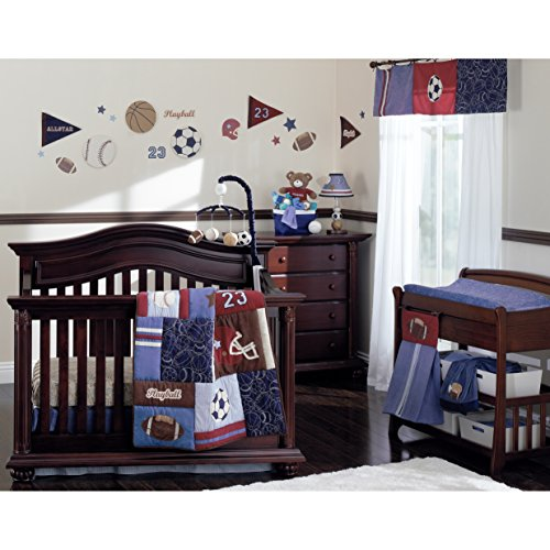 NoJo Play Ball, 9-Piece Crib Bedding Set, Navy/Red/Indigo/Ivory/Brown Baby Boy Sports Bedding