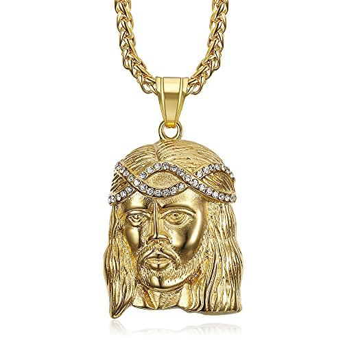 Bobijoo Jewelry – Colgante para hombre con cabeza de cristo Jesús falsos diamantes, acero inoxidable, chapado en oro y cadena.