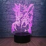 Lámpara de ilusión óptica 3D para niños Naruto Kyuubi cargador USB, ideal para regalos de cumpleaños, vacaciones, Navidad para bebé
