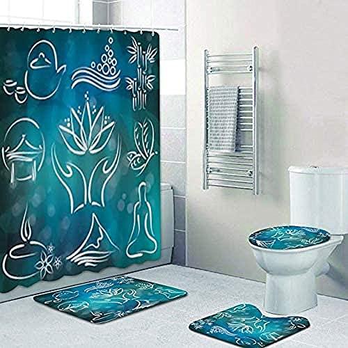 Badmat Set 4 Stuk, Mooie Decoratieve Lotusbloem Yoga Symbool Bad Douchegordijn Voor SPA Yoga Centrum Yogastudio Decoratie Badkamermat Tapijt