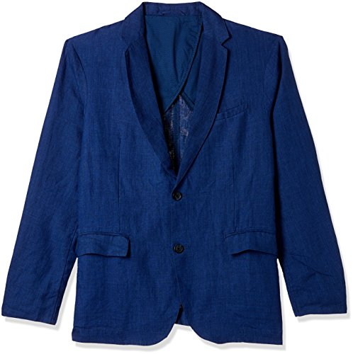 Jack & Jones Men's Linen Jacket (12128876-1947048001_Indigo_Medium)