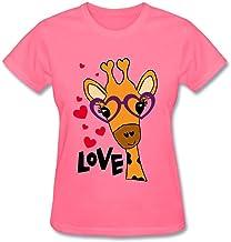 Veblen Mujer Cute Giraffe Cartoon Diseño Algodón T shirt