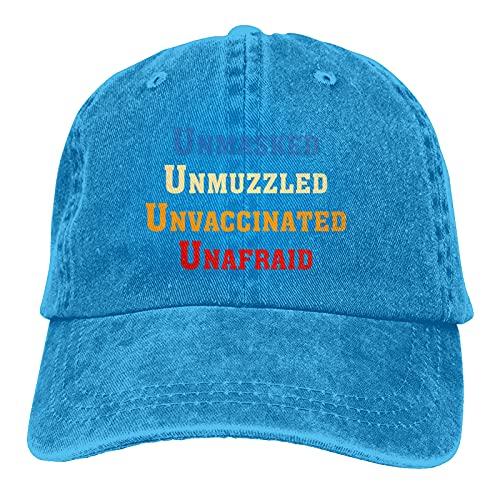 Leumius Unmasked Unmuzzled Unhozzled Unafraid-2 Sombreros, Gorra de béisbol ajustable para hombres y mujeres, algodón lavable, sombrero de papá, azul, Talla única