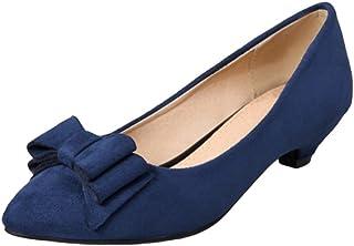 12f956361c0207 YOUJIA Femmes Suédine Slip on Escarpin a Petit Talon Bout Pointu Chaussures  avec Bowknot