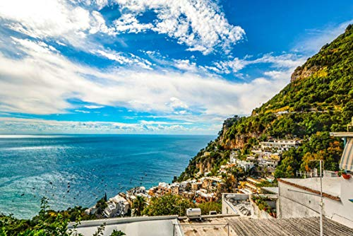 Wall Art Print on Canvas(32x21 inches)- Amalfi Coast Sorrento Positano Italy Sea