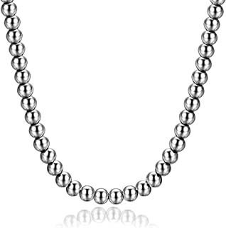 Necklace and Bracelets for Women and Men, Beaded Chain Sterling Silver Stainless Steel, Handmade Jewelry, 6-8MM Thick and 7-40