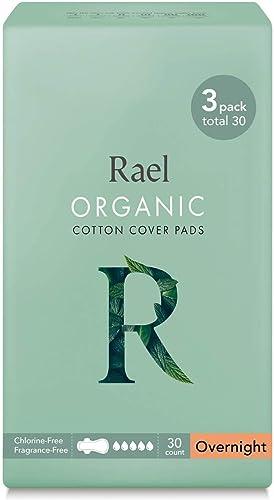 Rael serviettes hygiéniques menstruelles de coton organique - serviettes hygiéniques normales minces avec des ailes (...