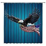 Adler Amerikanische Flagge Duschvorhang Glatzenadler mit Sternen Streifen Flagge USA Patriotische Unabhängigkeit auf Rustikal Vintage Holzbrett Badezimmer Home Decor mit Haken
