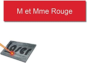 Mygoodprice Naamplaatje, gegraveerd, 10 x 2,5 cm, personaliseerbaar, 1 tot 3 regels, rood