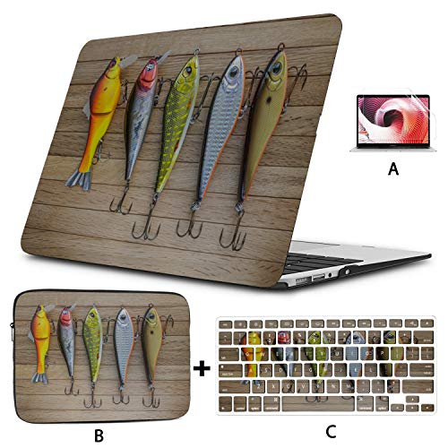 MacBook Air A1466 Case Beautiful Fishing Bait MacBook Pro 13 Cover Hard Shell Mac Air 11'/13' Pro 13'/15'/16' with Notebook Sleeve Bag for MacBook 2008-2020 Version