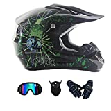 LALAGOU - Casco de motocross infantil integral para BMX MTB ATV, certificación ECE y DOT, con gafas, guantes, máscara, casco de moto, color negro, M (54-55 cm)