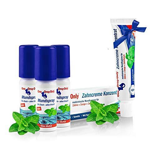 One Drop Only antibakterielles Mundspray - 3er Pack - Mundwasser ohne Alkohol mit natürlichen Inhaltsstoffen für frischen Atem - plus Zahncreme Konzentrat