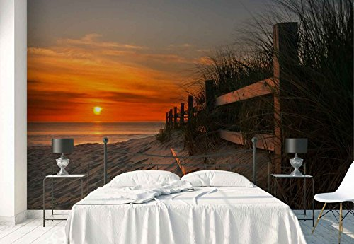 Vlies Fototapete Fotomural - Wandbild - Tapete - Sand Strand Zaun Gras Sonnenuntergang - Thema Strand und Küste - XXL - 416cm x 290cm (BxH) - 4 Teilig - Gedrückt auf 130gsm Vlies - 1X-18964VEXXXXL