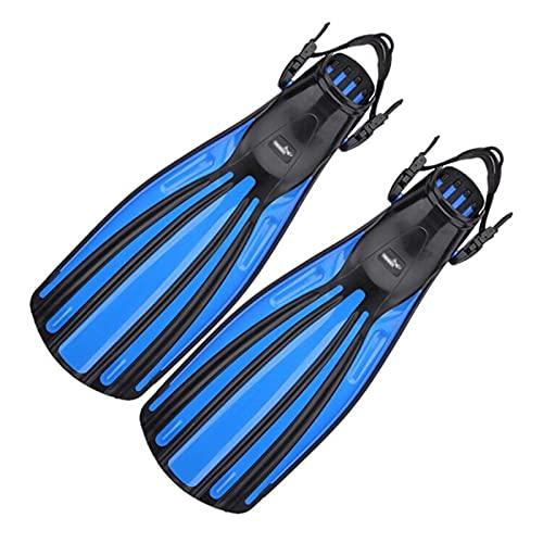 ZAYZ Buceo con Aletas Largas/Flippers para Entrenamiento de Natación Hebillas Ajustables de Talón Abierto Aleta de Buceo (Color : Blue, Size : S)