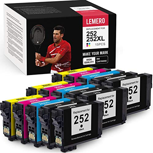 LEMERO Remanufactured Ink Cartridges Replacement for Epson 252 252XL 252 XL T252XL- for Epson Workforce WF-7710 WF-7720 WF-3640 WF-3620 WF-7620 WF-7110 WF-7610 (Black Cyan Magenta Yellow, 15 Pack)