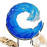 QIRU Ocean Wave Fused Glass Sculpture, Ocean Waves Art Handmade Crafts Ornament,Blue Wave Sculpture for Home Decor,Nautical Sun Catcher with Stand (12in)