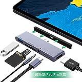 USB Type C ハブ USB C ハブ iPad Pro対応 6in1 Type-c hub 4K HDMI 出力 PD 充電対応 USB3.0 ハブ microSD/SD カードリーダー 3.5mm ヘッドホンジャック マイクロ タイプ C HDMI 変換 アダプタ Macbook Macbook pro/SAMSUNG/Huawei Mate等対応