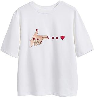 Liebeye コットン刺繍ハートシャツ 女性夏ショートスリーブ ソリッドカジュアルトップ