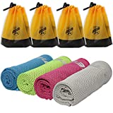 HAIMEEC Cooling Towel, Cooling Towels for Neck 4 Pack - Ice Towel Chilly Cool Towel for Athletes, Instant Chill Cooling Cloth as Cool Rags for Neck Cooling Wrap (4-Pack A Set)…