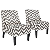 YOUTLITE Accent Chair Armless Elegant Design Sofa Chiar with Lumbar Pillow, Wood Leg, Grey Mid-Century Fabric Chair Set of 2 for Living Room/Bedroom, Single (Set of 2 Grey Chair)