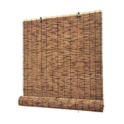 Zlovne Bambusrollo,Durchscheinend Rollo Bambus,Wandbehang Rollo Seitenzugrollo,Handgewebt Schilfvorhänge,Balkon Outdoor Wetterfest (W120xH140cm/47x55in)