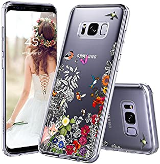 Galaxy S8 Case, Galaxy S8 Case Clear, MOSNOVO Floral Humming Bird Transparent Clear Design Hard Case with Shockproof Protective Back Case Cover for Samsung Galaxy S8 (2017)