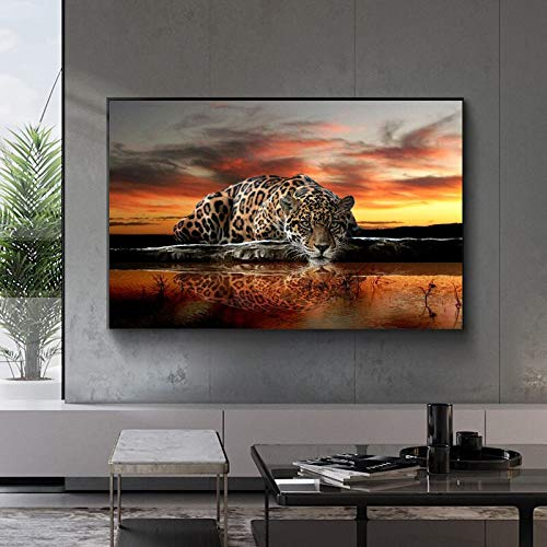 wZUN Carteles e Impresiones de paisajes Naturaleza Nubes Puesta de Sol y Leopardo Arte Lienzo Pintura Sala de Estar Decoración del hogar 50x70 Sin Marco